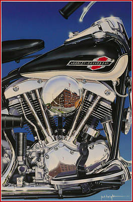 Painting - Shovelhead Motor by Jack Knight