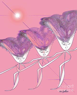 Digital Art - Show Girls   Three by Iris Gelbart