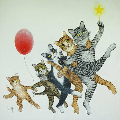 Kitty Drawing - Show Stoppers by Pat Scott