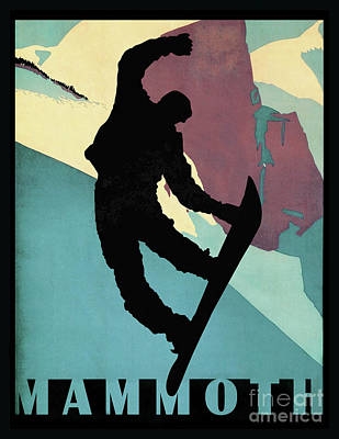 Showboarding Dude At Mammoth, Winter Sports Art Print by Tina Lavoie