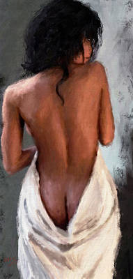 Painting - Girl Draped In Towel by James Shepherd