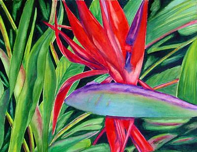 Bird Of Paradise Flowers Painting - Showgirl by Marsha Elliott