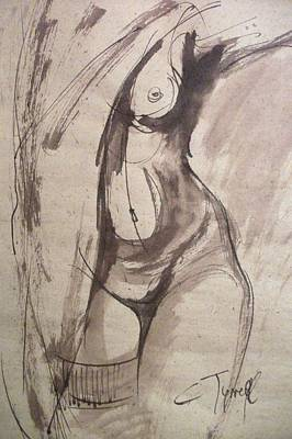 Showing Figure - Sketch Of A Female Nude Original by Carmen Tyrrell