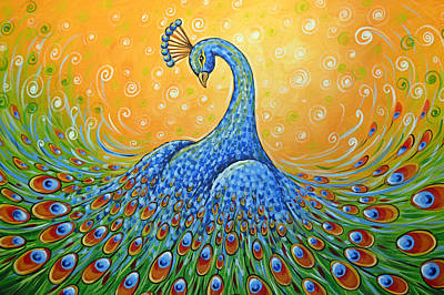Peacock Painting - Showing Off by Amy Giacomelli
