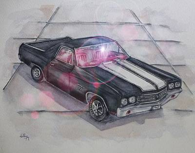 Painting - Showroom Lights 1970 Chevy El Camino by Kelly Mills