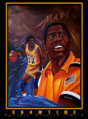 Magic Johnson Painting - Showtime by Cynthia Bluford