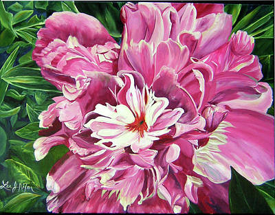 Acrylic Painting - Showy Pink Peony by Lee Nixon
