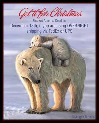 Polar Bear Digital Art - Shpping Dates - Dec 18 Not For Sale by Maggie Terlecki