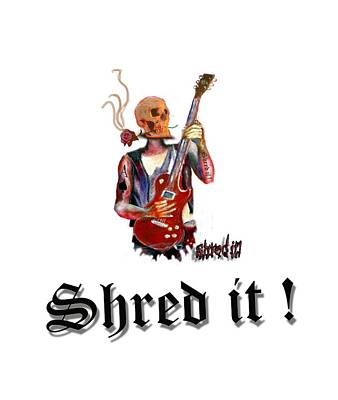 Painting - Shred It Skull Guitarist Version 2 by Tom Conway
