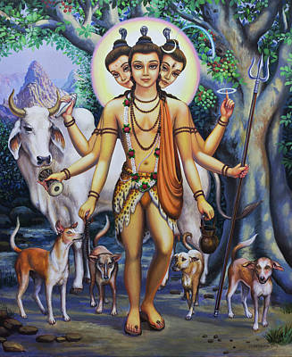 Devotional Art Painting - Shree Dattatreya by Vrindavan Das