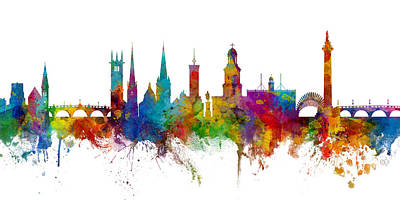 Digital Art - Shrewsbury England Skyline Panoramic by Michael Tompsett