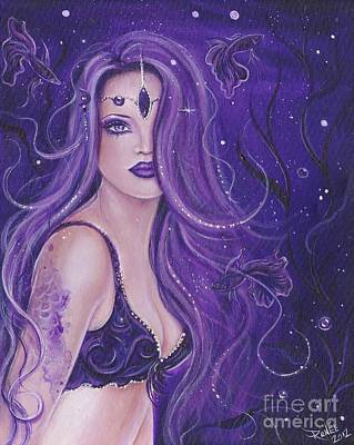 Betta Fish Painting - Shreya Purple Mermaid by Renee Lavoie