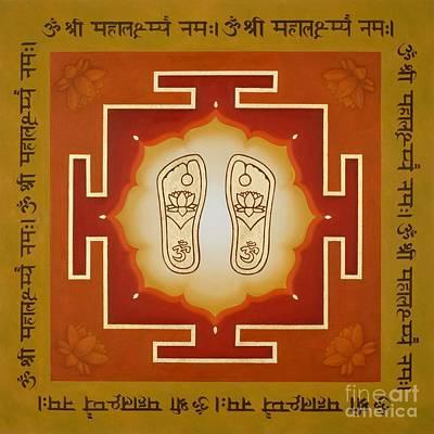 Sanskrit Mixed Media - Shri Maha Lakshmi Paduka by Piitaa - Sacred Art