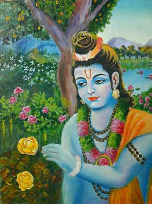 Shri Krishna Painting - Shri Ram In Garden by Ashutosh Mishra