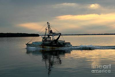 Shrimp Boat At Sunset Art Print