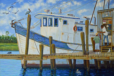 Painting - Shrimp Boat At Wando Dock by Dwain Ray