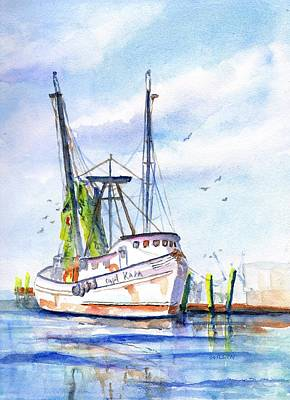 Painting - Shrimp Boat Gulf Fishing by Carlin Blahnik CarlinArtWatercolor