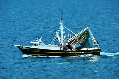 Shrimp Boat In The Gulf Art Print by Bill Perry