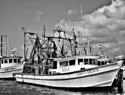 Photograph - Shrimp Boats Monocrome by Tony Grider