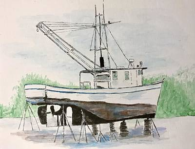 Painting - Shrimp Boat Repair by Amber Woodrum