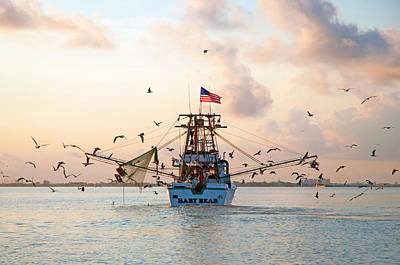 Shrimp Boat Sunrise Art Print by Robert Anschutz