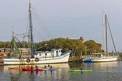 Photograph - Shrimp Boats And Colorful Canoes At Shem Creek Charleston Sc by Willie Harper