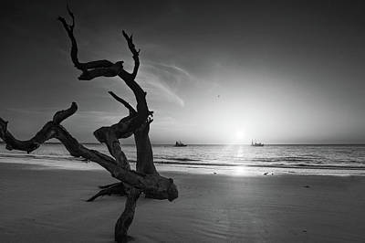 Photograph - Shrimp Boats And Driftwood In Black And White by Chrystal Mimbs