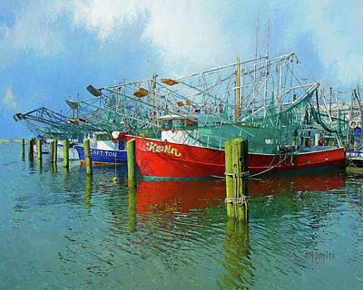 Digital Art - Shrimp Boats Biloxi Harbor Gulf Coast by Rebecca Korpita