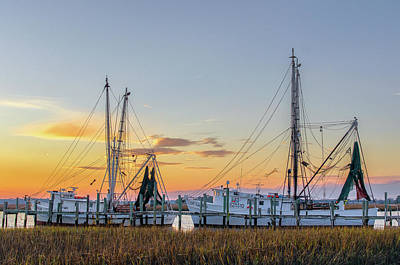 Net Photograph - Shrimp Boats by Drew Castelhano