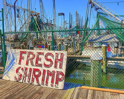 Pass Christian Ms Wall Art - Photograph - Shrimp Boats Harbor - Fresh Shrimp  by Rebecca Korpita