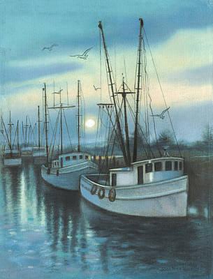Shrimp Boats Art Print by Nina Uccello