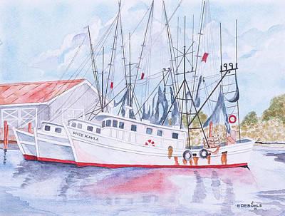 Shrimp Boats Of Amelia Island Art Print by John Edebohls