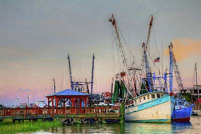 Photograph - Shrimp Boats Shem Creek In Mt. Pleasant  South Carolina by Carol Montoya