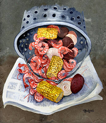 Newspaper Painting - Shrimp Boil by Elaine Hodges