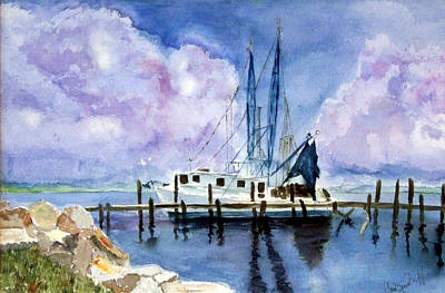 Shrimpboat Art Print by Carol Sprovtsoff