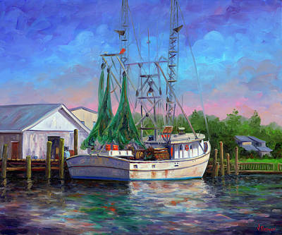 Shrimp Boat Painting - Shrimper At Harbor by Jeff Pittman