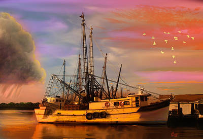 Shrimpers At Dock Art Print by J Griff Griffin
