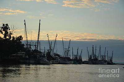 Photograph - Shrimpers At Sunset -2 by Bob Sample