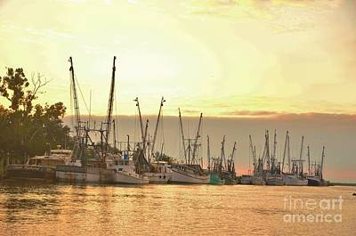 Photograph - Shrimpers At Sunset by Bob Sample