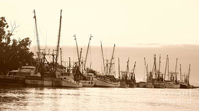Photograph - Shrimpers In Sepia - 16x9 Ratio by Bob Sample