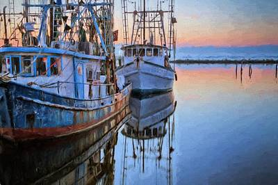 Shrimpers On Pensacola Bay Art Print