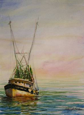 Reflection Harvest Painting - Shrimping by Shirley Sykes Bracken