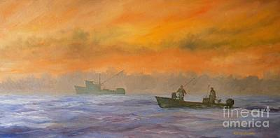 Painting - Shrimping Sunrise by Keith Wilkie