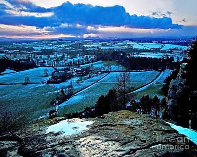 Snowy Night Photograph - Shropshire Winter Sunset Scene by Chris Smith