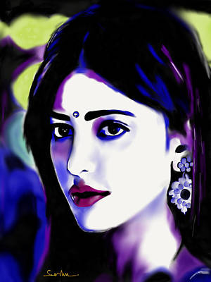 Abstract Realism Digital Art - Shruti Hassan by Seshendra Nalla