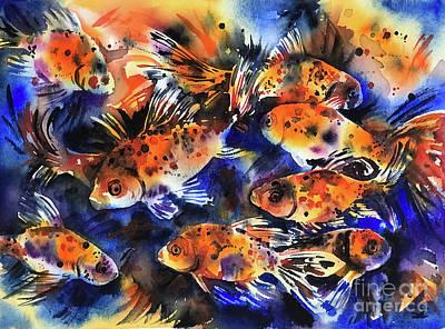 Painting - Shubunkin Goldfish by Zaira Dzhaubaeva
