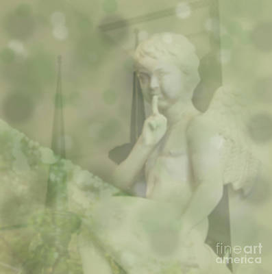 Digital Art - Shush..angel Boy Looking Down With Finger To His Lips To Tell Someone To Be Quiet  by Susan Vineyard