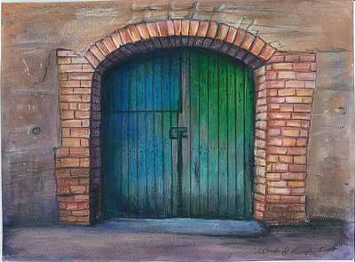 Entrance Door Drawing - Shut The Door by Linda Nielsen