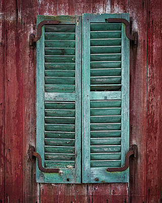 Photograph - Red Barn Shutters by John Vose