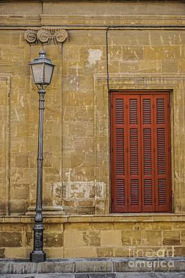 Shuttered Windows And A Light Pole Art Print by Liesl Marelli